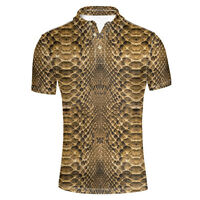Snakeskin Print Mens Summer Shirts Top Wear Male Office Polo Shirts Shorts Xxl