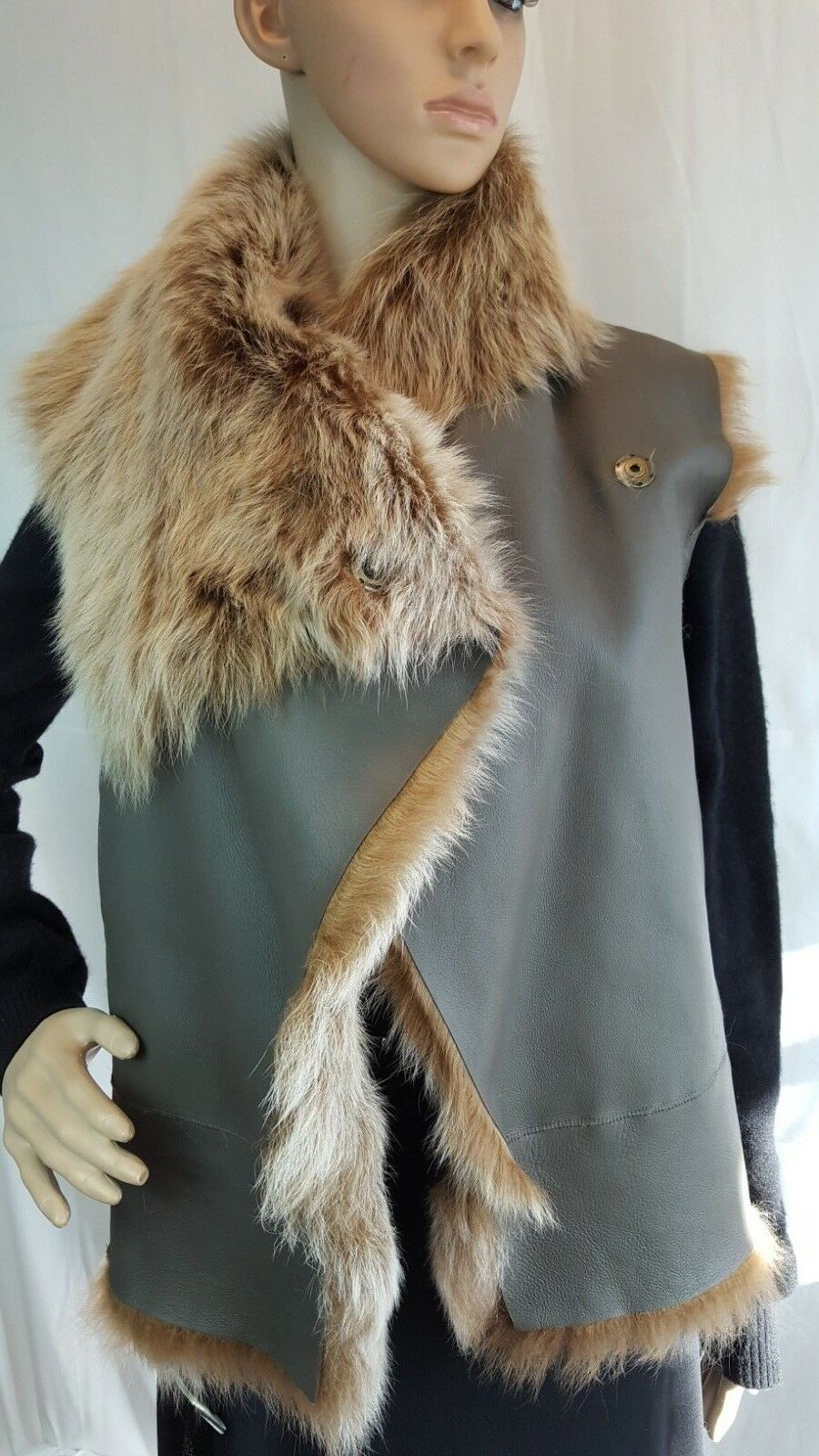 NWT 1695 VERONICA BEARD Natural Shearling Shearling Shearling Sleeveless Leather Vest Olive Green S 1b5616