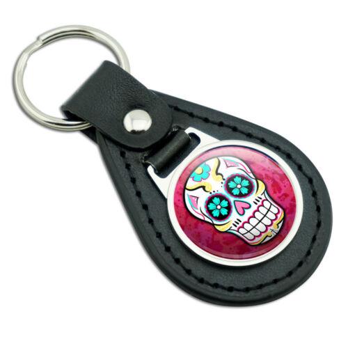 Sugar Skull Black Leather Metal Keychain Key Ring