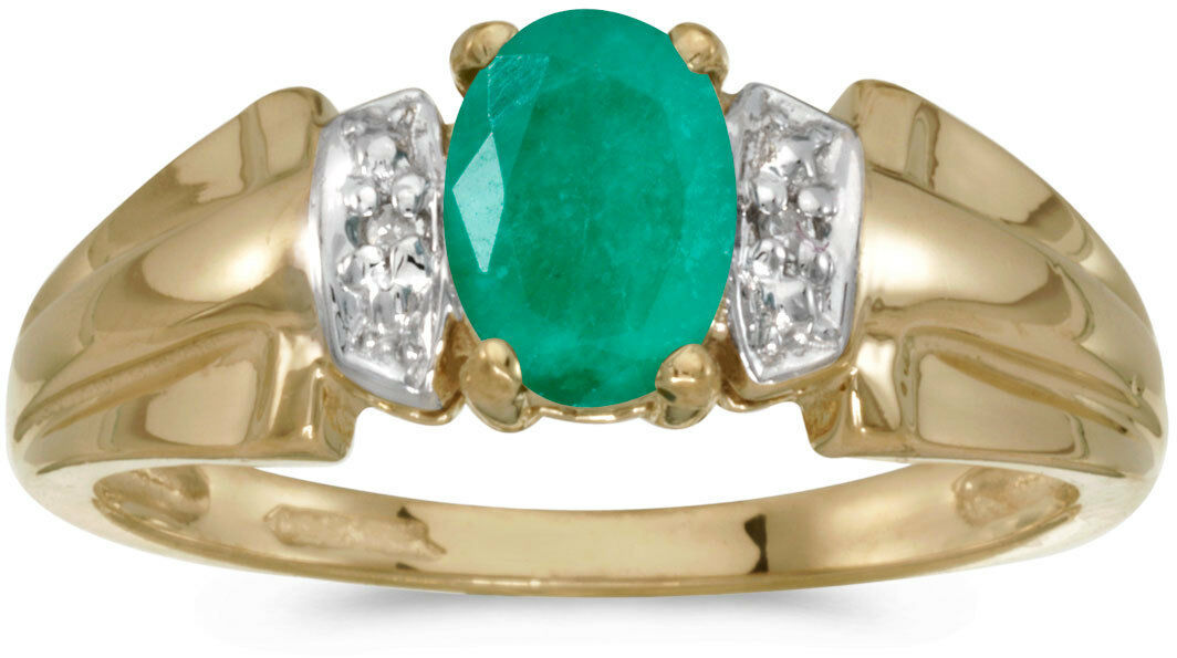 14k Yellow gold Oval Emerald And Diamond Ring (CM-RM1041X-05)
