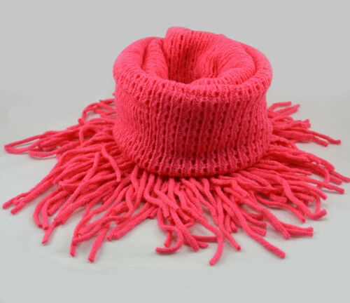 Ladies Warm Solid Colour Synthetic Cashmere Fringe Infinity Circle Scarves