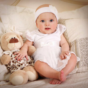 christening dress newborn baby girl white cotton romper baptism