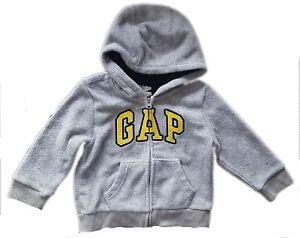 9a0fa6e30083 Baby GAP Boy Toddler GREY YELLOW Logo Hoodie Hooded Fleece Jacket 3 ...