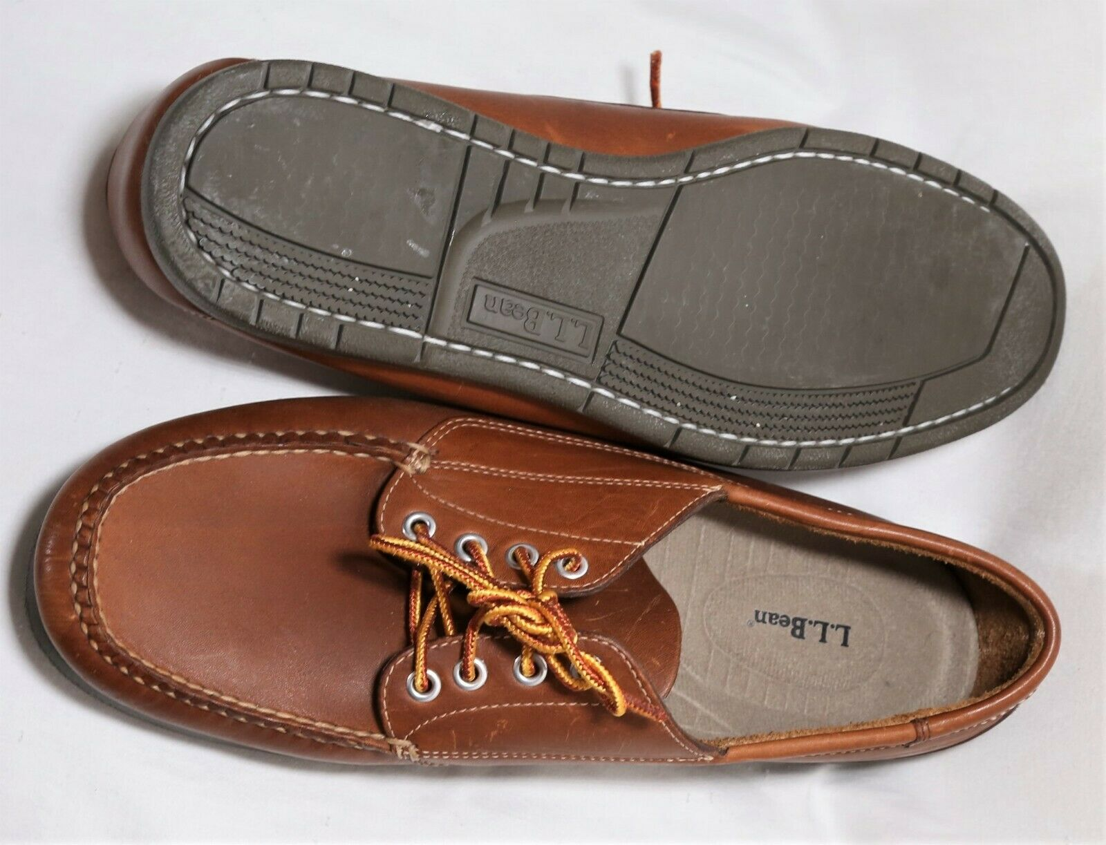 NWOB-New_HandSewn L L BEAN Brown Leather Blucher Moccasin Boat Type Shoes_13 EE