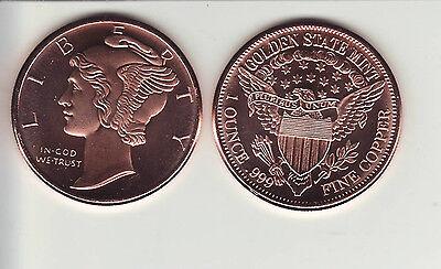 MERCURY  Dime  design  1 oz Copper Round Coin  GSM