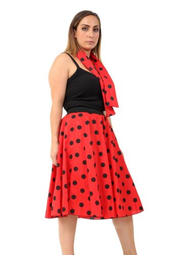 Ladies Women Polka Dot RockNRoll Poodle Skirt Retro 1950/'s//1960/'s Style