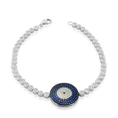 Sterling Silver White Blue Bezel-Set Crystals Hamsa Evil Eye Link Chain Bracelet