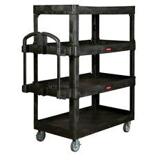 Rubbermaid 4 Shelf Commercial Heavy Duty Utility Cart Large Black
