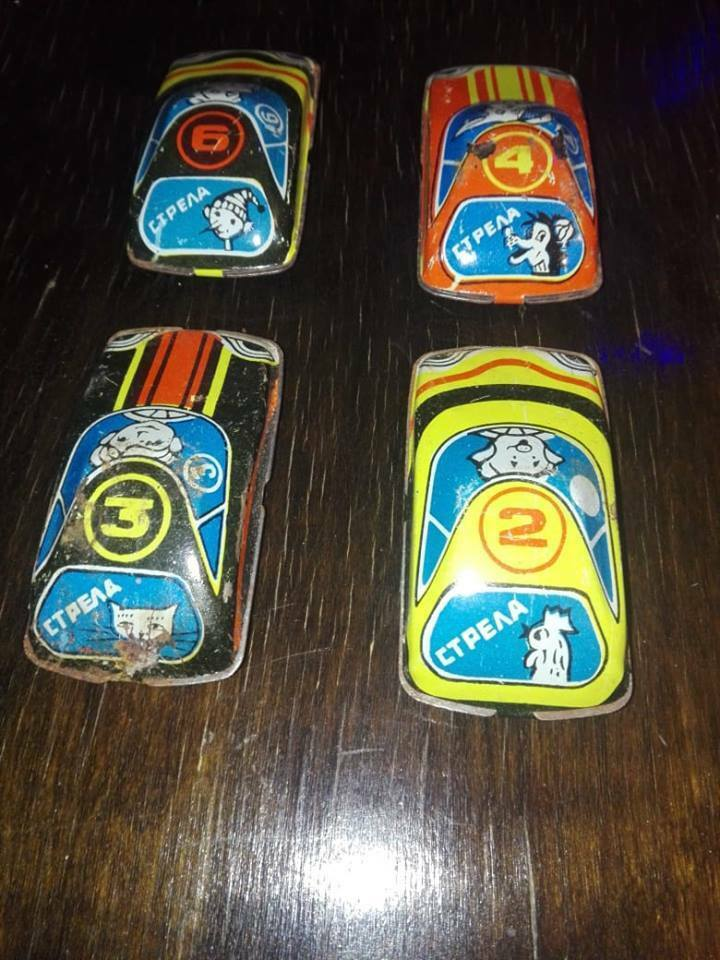 COLLECTIBLE METAL TOY CARS 1960 SOVIET USSR .4x  VINTAGE METAL TOY CARS 1960 .