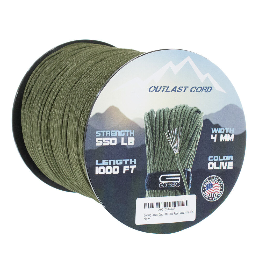 Military 550 Paracord with Fish Line & Fire Starter Survival  Rope Outlast Cord  lightning delivery