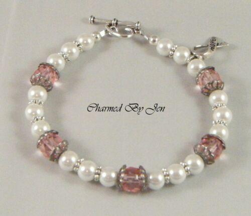 New BREAST CANCER Awareness Czech Glass /& Pearl Bracelet w// HOPE Ribbon Charm