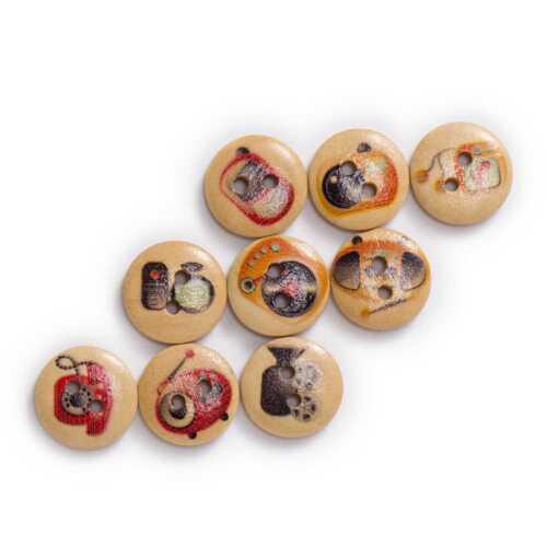 50pcs Flower Theme Printing Wooden Buttons Scrapbook Sewing Handwork Decor 15mm
