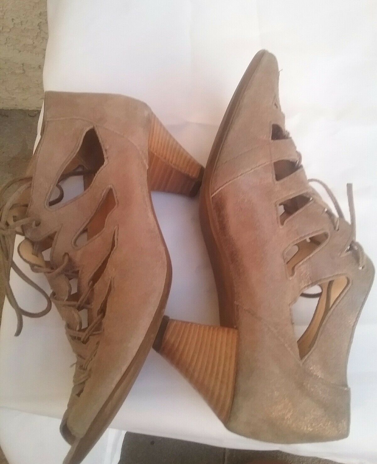 PAUL Grün Womans Munchen Prague Open Toe Toe Toe Lace Up Suede Stiefelies Größe US 7 EUR 38 4627e1
