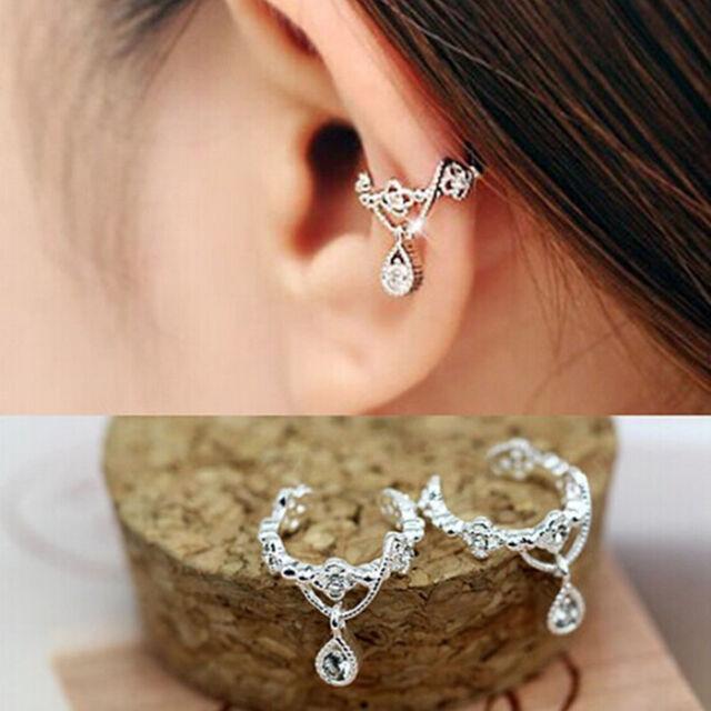 Punk Fashion Ear Cuff Wrap Rhinestone Cartilage Clip On Earring Non Piercing JP