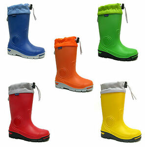 Kids-Boys-Girls-Wellington-Boots-Rainy-Snow-Wellies-Silver-ions-Ag