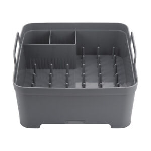 f5f6da92f968 Plastic Tub Dish Rack Caddy Drainer Drying Rack Storage Grey Kitchen ...