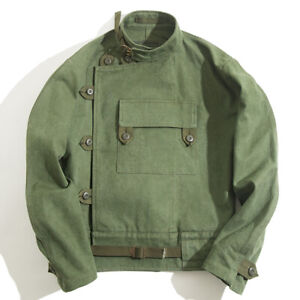 649d2ae81 Details about Swedish Motorcycle Jacket Military Army Green WW2 Airborne  Paratrooper Cotton
