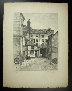 Gustave Bonel Vue Du Vieux Paris Gravure Originale Signée 1947 Pour AméLiorer La Circulation Sanguine
