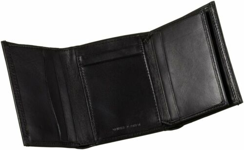 New Men/'s Guess Cruz Leather Credit Card Wallet Trifold 0965-01 Black