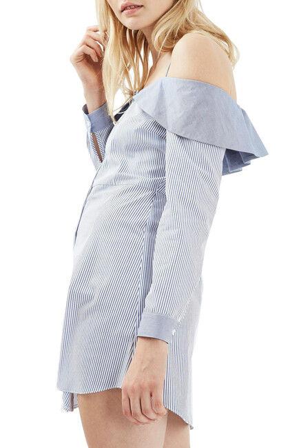 NEW TOPSHOP Bardot Stripe Shirtdress DRESS Größe EURO 36 US 4 Blau NORDSTROM