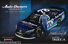 "2016 MARTIN TRUEX JR ""AUTO-OWNERS INSURANCE"" #78 NASCAR SPRINT CUP POSTCARD"