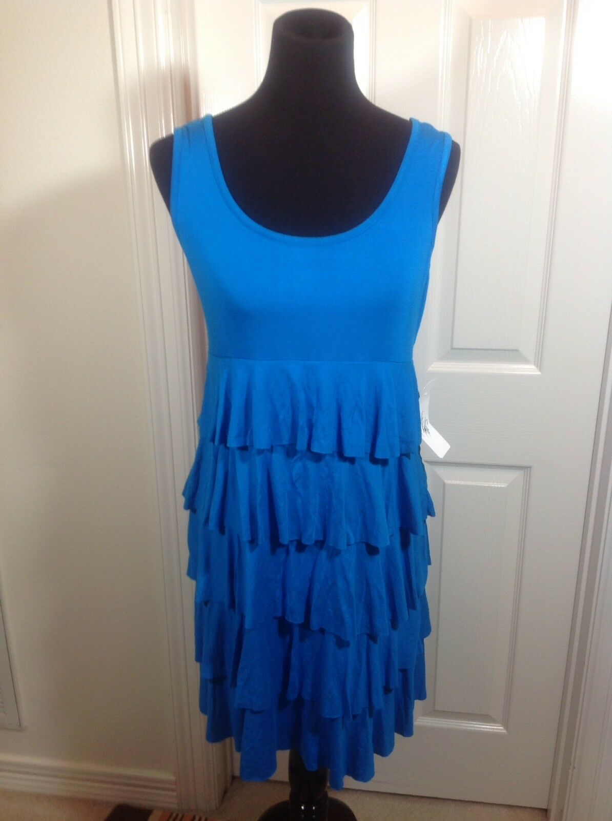 SPENSE Size Large Cerulean (Turquoise) Tiered Sleveless Knit Dress NWT