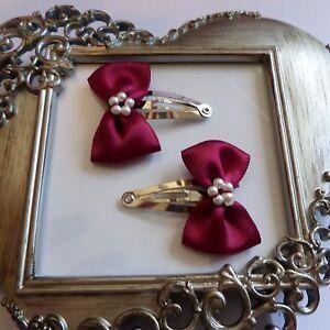 girls hair clips snap clips slides bendies  hair clip burgundy bows