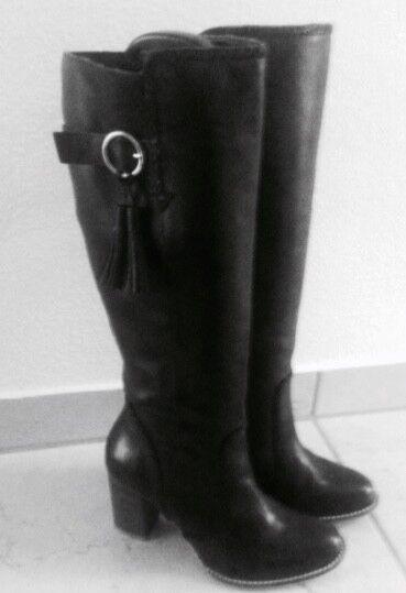 Stiefel schwarz echt Leder Gr.39 NEU Patapata