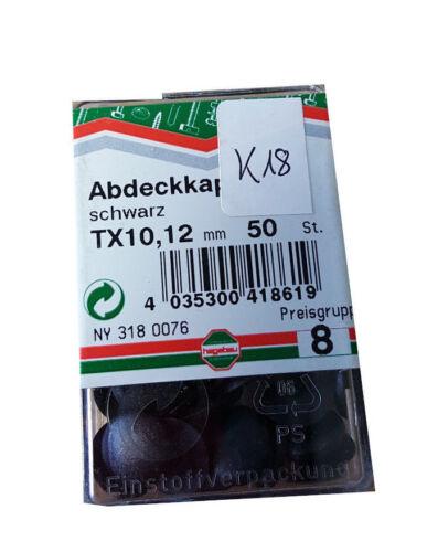 Abdeckkappen farbig schwarz TX 10 x 12 mm 50 Stück #K 18