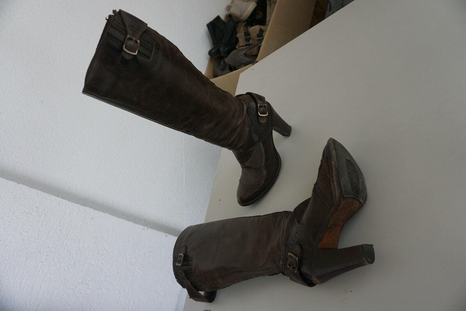 BELSTAFF Gr.36 TOP Braun Vintage Leder Stiefeletten Stiefel
