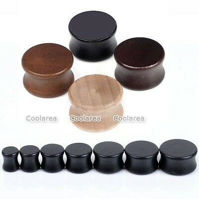 Pick Gauge Natural Organic Wood Double Flared Saddle Ear Tunnels Plugs 4 Colors