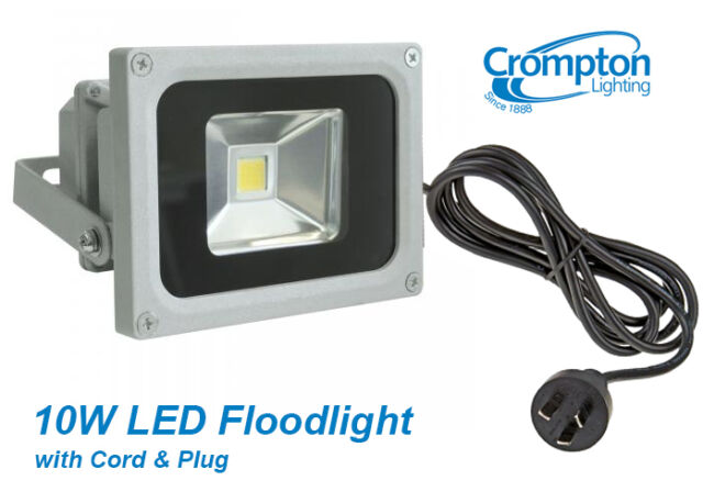 Crompton 10W LED Outdoor Security Floodlight IP65 with Cord & Plug DIY