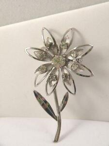 Flower-Figural-Pin-Silver-tone-with-Rhinestones-Vintage-Brooch