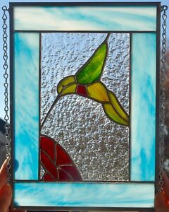 Ebay Stained Glass Panels.Details About Beautiful Hummingbird And Red Flower Stained Glass Panel Window 11 1 2 X 9