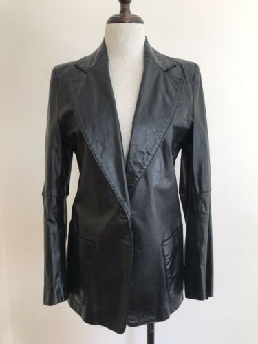 Ann Demeulemeester Black Leather Jacket Blazer 38