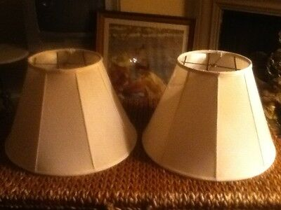 "2 LARGE Eggshell Silk Fabric Lamp Shades Empire Slant Panel Vertical Piping 20"""