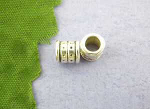 80-Antiksilber-Tube-Spacer-Perlen-Beads-6x6mm