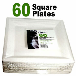 Image is loading 60-Chinet-Strong-24cm-Square-Disposable-Plates-Wedding-  sc 1 st  eBay & 60 Chinet Strong 24cm Square Disposable Plates Wedding / Party ...
