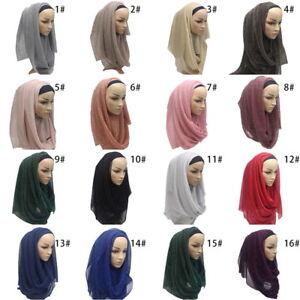 Women-Lady-Shimmer-flashs-Gold-Glitter-Plain-Muslim-Hijab-Scarf-Shawl-Head-Wrap
