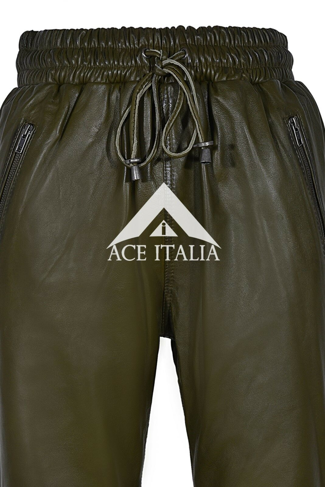 Mens Leather Trouser Trouser Trouser OLIVE Grün Sweat Track Pant Zip NAPA Jogging Bottom 3040 06b67e