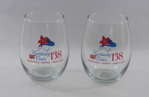 2012 Kentucky Oaks 138th  Lily 12oz Stemless Wine Glasses Churchill Downs 2