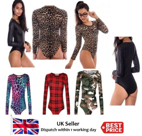 Ladies Printed Long Sleeve Bodysuit Women/'s Round Neck Party Wear Dress New