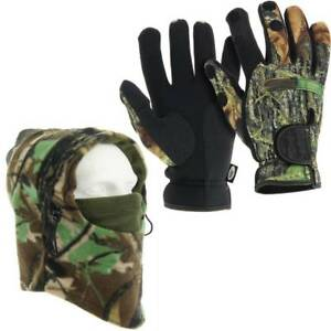 NGT-Deluxe-Camo-Snood-amp-Neoprene-Fishing-Gloves-With-Foldback-Fingers-L-M-XL
