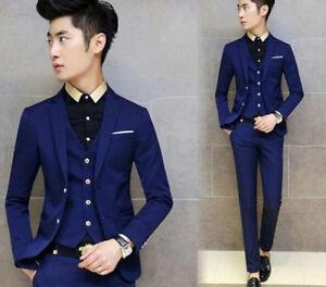 Formal Dress Fashion Men Pant Jacket Suits Vest Blazers Wedding 3