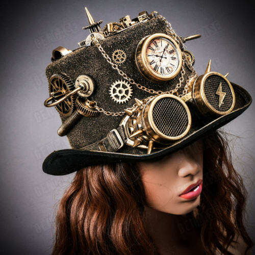 NEW Black Gold Gothic Top Hat Halloween w// Clock Spike Costume Steampunk Goggles