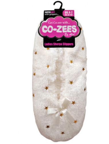Ladies Luxury Sherpa Fleece Lined Gripper Sole Slipper by Co-Zees 16 Designs