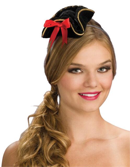 Mini Pirate Hat Headband Buccaneer Costume Womens Girls Ladies Head Band  Black 4c4d04ae571
