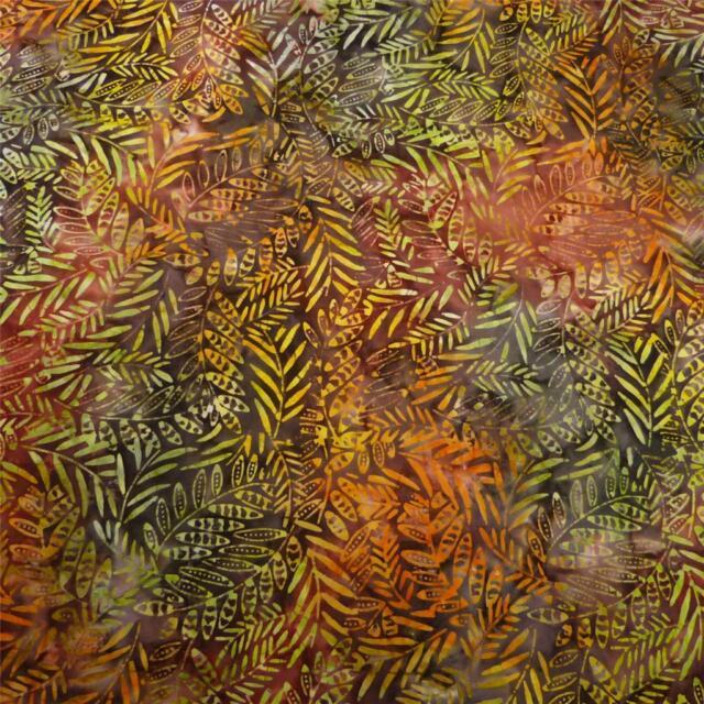 Batik Cotton Fabric Indonesian, Leaf Impressions, Bronze Brown Gold Green FQ
