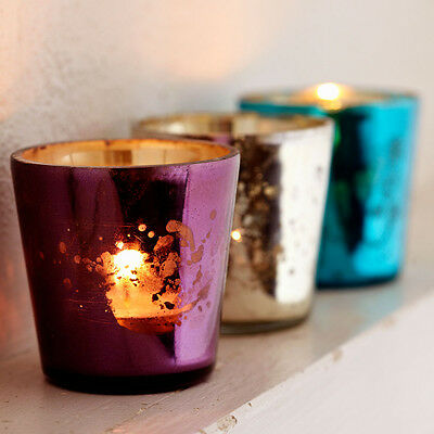 Fair Trade Set of 3 Recycled Glass Tea Light Holders- Turquoise, Lilac & Silver