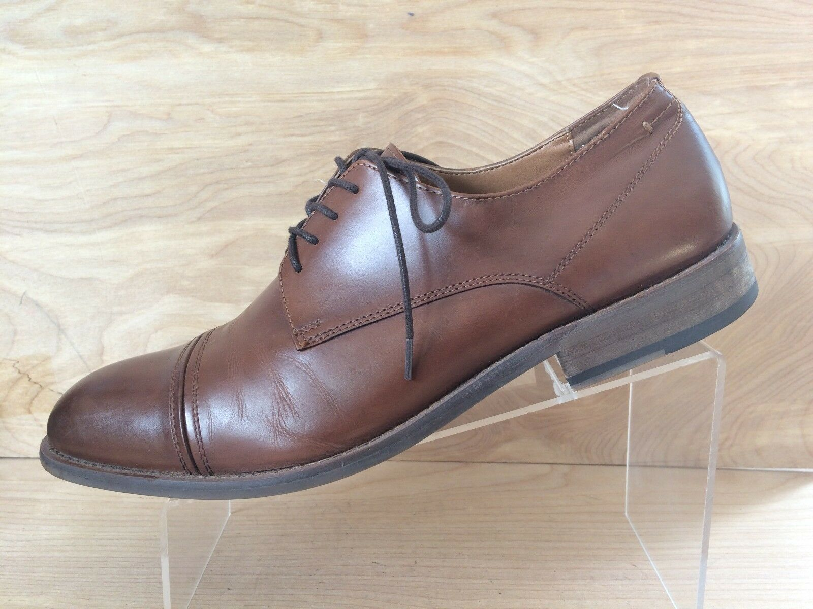 Kenneth Cole Match Maker Mens Brown Leather Lace Up Cap Toe Oxford Size 11.5M